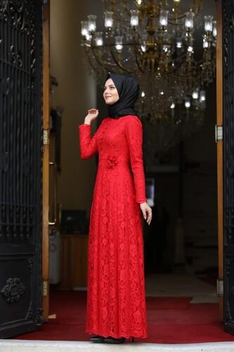 Ahunisa Henna Abiye Kırmızı 5646 - Thumbnail