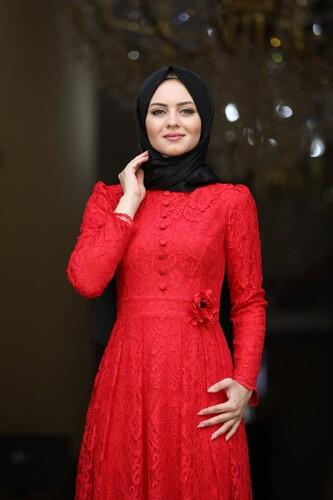 Moda Çizgi - Ahunisa Henna Abiye Kırmızı 5646