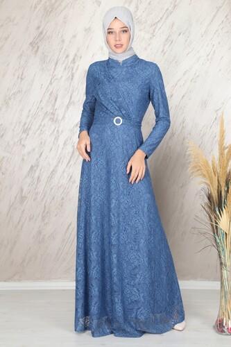 Moda Çizgi - Ahunisa Tanem Abiye İndigo 6525