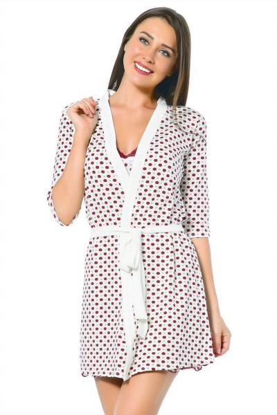 Moda Çizgi - Moda Çizgi Bayan Ekru Kırmızı Gecelik Sabahlık Takım 1291