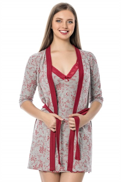 Moda Çizgi - Moda Çizgi Bayan Gri Bordo Gecelik Sabahlık Takım 1104