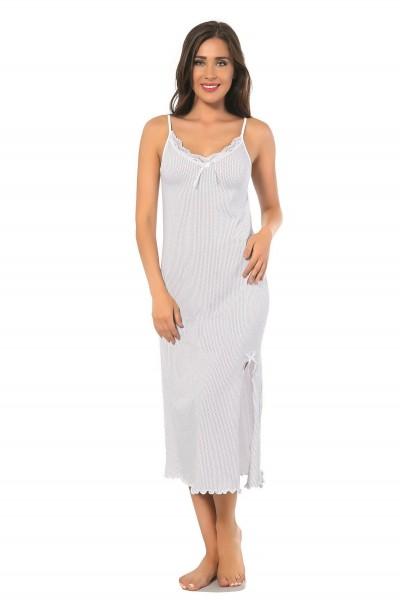 Moda Çizgi - Moda Çizgi Bayan İp Askılı Uzun Gecelik 904