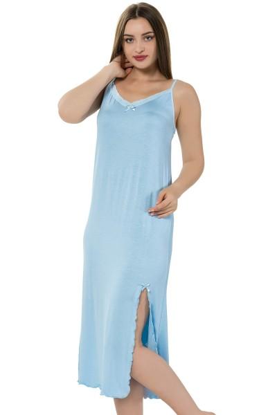 Moda Çizgi - Moda Çizgi Bayan İp Askılı Uzun Gecelik 914