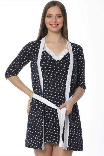 Moda Çizgi - Moda Çizgi Bayan Laciver Beyaz Gecelik Sabahlık Takım 1109A