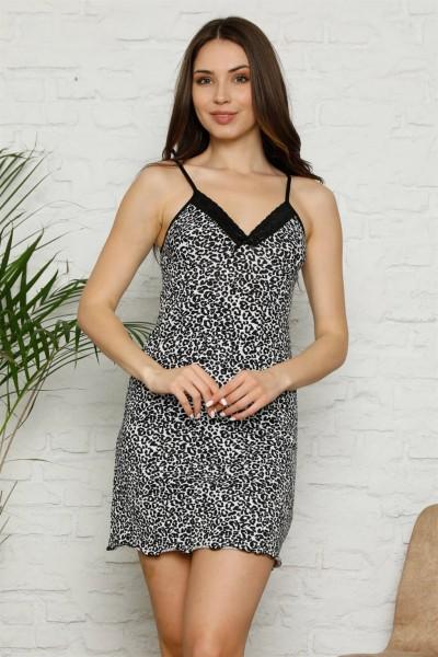 Moda Çizgi - Moda Çizgi İp Askılı Penye Gecelik 390