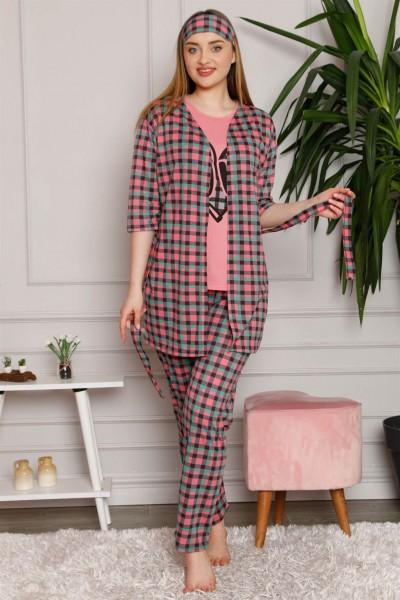 Moda Çizgi - Moda Çizgi Kadın %100 Pamuk 3'lü Sabahlık Pijama Takım 1117