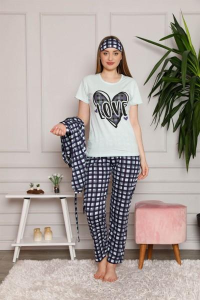 Moda Çizgi Kadın %100 Pamuk 3'lü Sabahlık Pijama Takım 1118 - Thumbnail