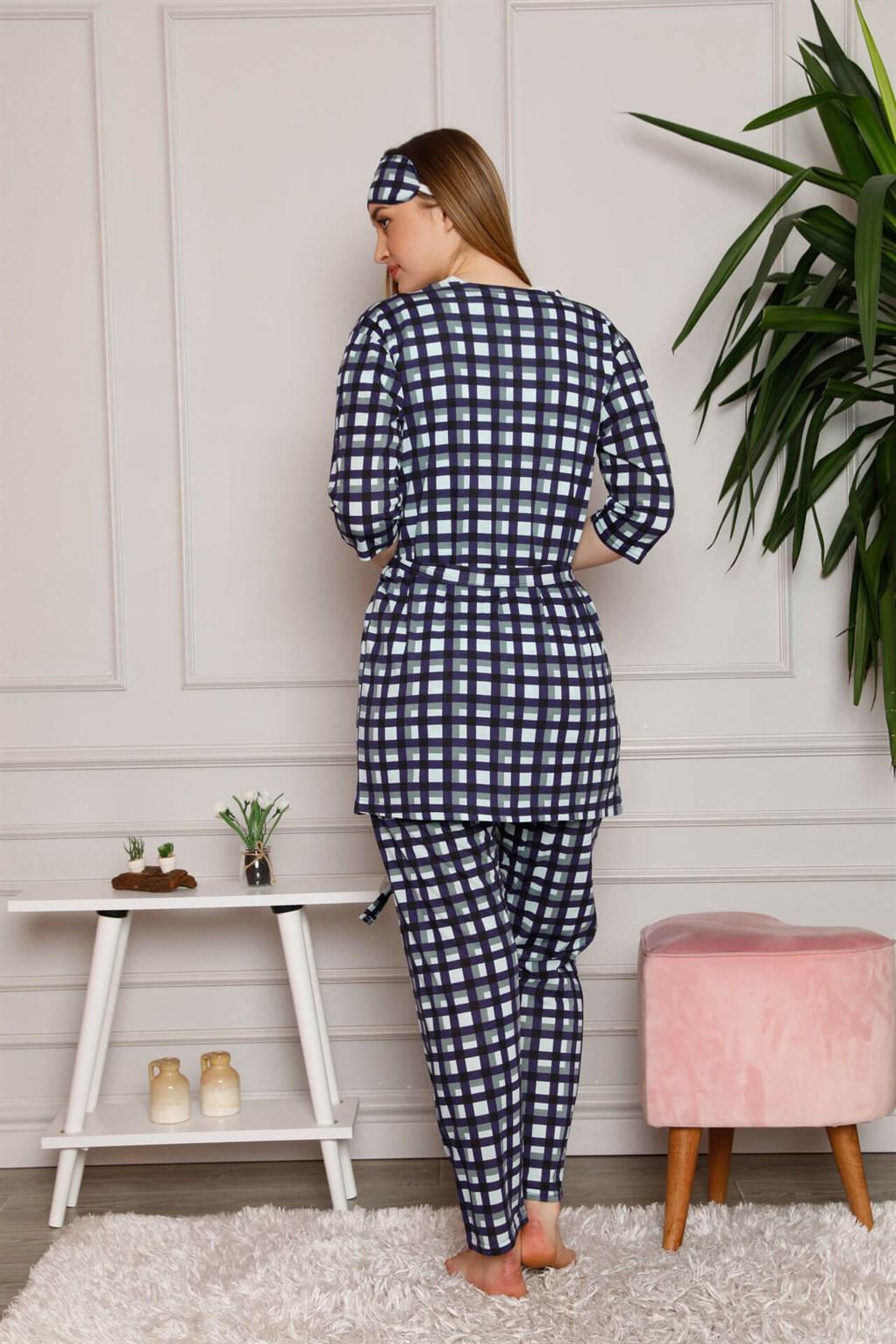 Moda Çizgi Kadın %100 Pamuk 3'lü Sabahlık Pijama Takım 1118