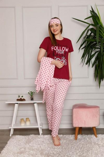 Moda Çizgi Kadın %100 Pamuk 3'lü Sabahlık Pijama Takım 1119 - Thumbnail