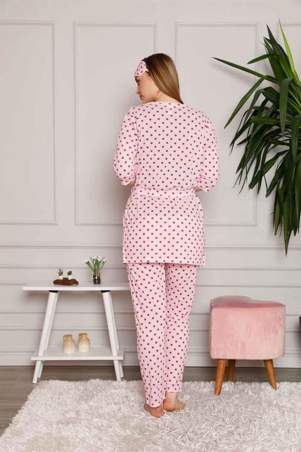 Moda Çizgi Kadın %100 Pamuk 3'lü Sabahlık Pijama Takım 1119