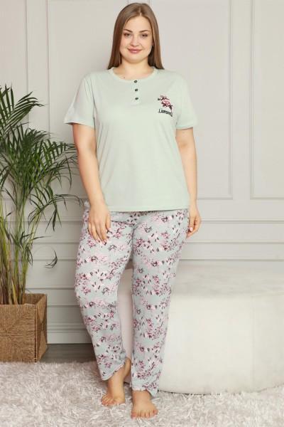 Moda Çizgi - Moda Çizgi Kadın %100 Pamuk Cepli Kısa Kol Büyük Beden Pijama Takım 202071