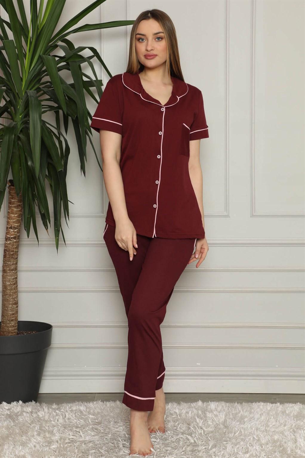 Moda Çizgi Kadın %100 Pamuk Önden Düğmeli Kısa Kol Pijama Takım 2821