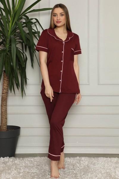 Moda Çizgi - Moda Çizgi Kadın %100 Pamuk Önden Düğmeli Kısa Kol Pijama Takım 2821
