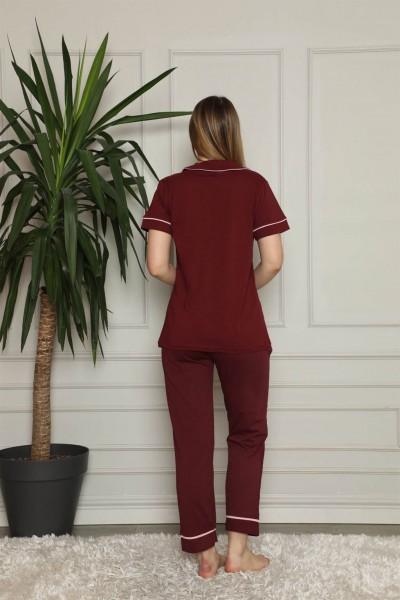 Moda Çizgi Kadın %100 Pamuk Önden Düğmeli Kısa Kol Pijama Takım 2821 - Thumbnail