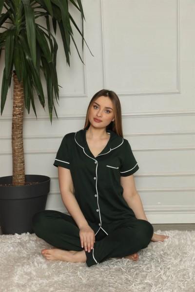 Moda Çizgi Kadın %100 Pamuk Önden Düğmeli Kısa Kol Pijama Takım 2823 - Thumbnail