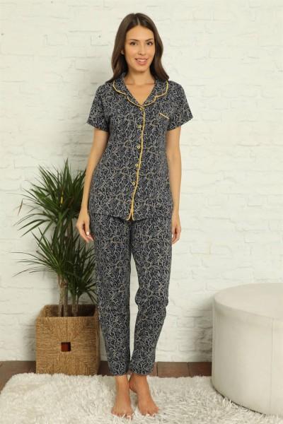 Moda Çizgi - Moda Çizgi Kadın %100 Pamuk Önden Düğmeli Kısa Kol Pijama Takım 2829