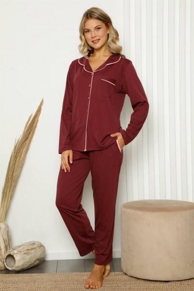 Moda Çizgi - Moda Çizgi Kadın %100 Pamuk Önden Düğmeli Uzun Kol Pijama Takım 2840