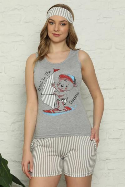 Moda Çizgi - Moda Çizgi Kadın %100 Pamuk Penye Kalın Askılı Şortlu Pijama Takım 4325
