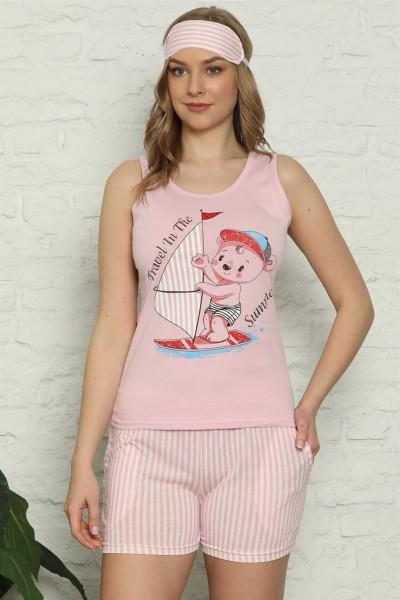 Moda Çizgi - Moda Çizgi Kadın %100 Pamuk Penye Kalın Askılı Şortlu Pijama Takım 4328