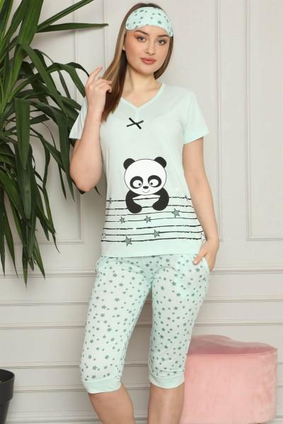 Moda Çizgi - Moda Çizgi Kadın %100 Pamuk Penye Kısa Kol Kapri Pijama Takım 3538