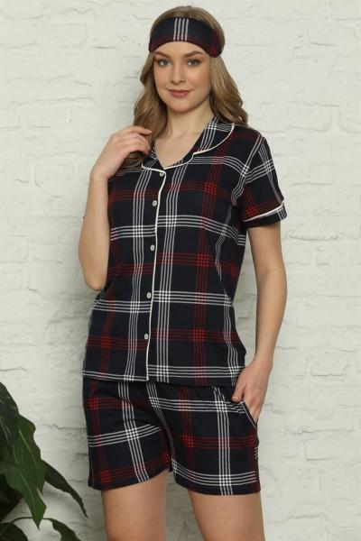 Moda Çizgi - Moda Çizgi Kadın %100 Pamuk Penye Kısa Kol Şortlu Pijama Takım 4318