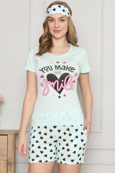 Moda Çizgi - Moda Çizgi Kadın %100 Pamuk Penye Kısa Kol Şortlu Pijama Takım 4323