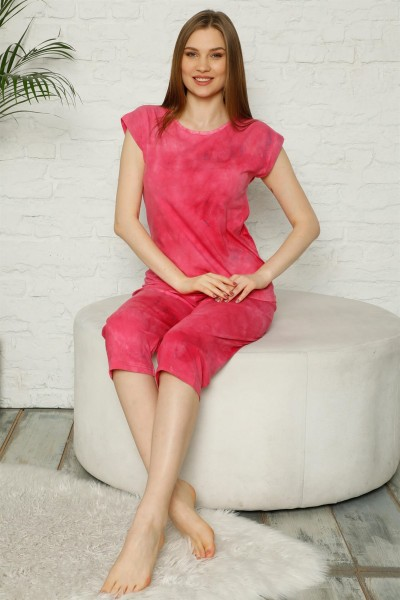 Moda Çizgi - Moda Çizgi Kadın %100 Pamuk Penye Kolsuz Kapri Pijama Takım 3352