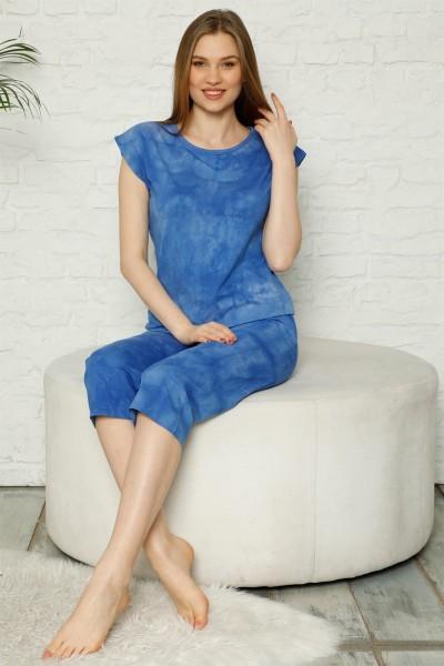 Moda Çizgi - Moda Çizgi Kadın %100 Pamuk Penye Kolsuz Kapri Pijama Takım 3354