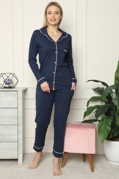 Moda Çizgi - Moda Çizgi Kadın %100 Pamuk Penye Önden Düğmeli Uzun Kol Pijama Takım 2713