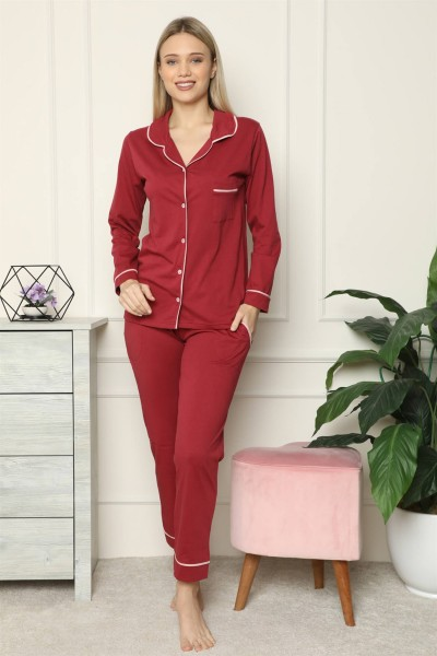 Moda Çizgi - Moda Çizgi Kadın %100 Pamuk Penye Önden Düğmeli Uzun Kol Pijama Takım 2716