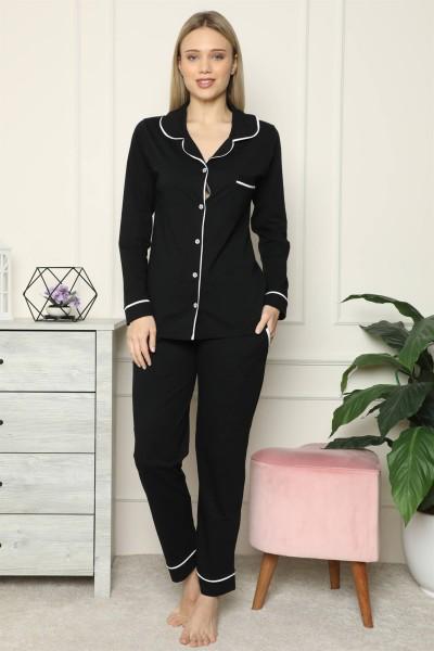 Moda Çizgi - Moda Çizgi Kadın %100 Pamuk Penye Önden Düğmeli Uzun Kol Pijama Takım 2717