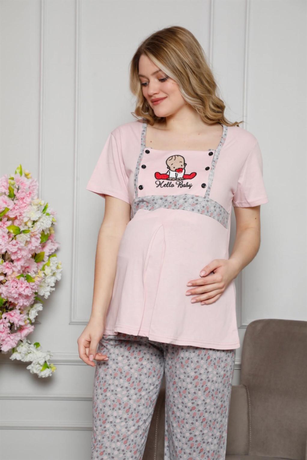 Moda Çizgi Kadın %100 Pamuklu Hamile Pijama Takımı 4505