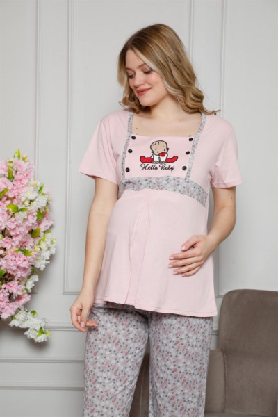 Moda Çizgi - Moda Çizgi Kadın %100 Pamuklu Hamile Pijama Takımı 4505