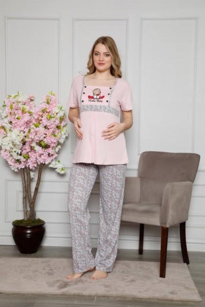 Moda Çizgi Kadın %100 Pamuklu Hamile Pijama Takımı 4505 - Thumbnail