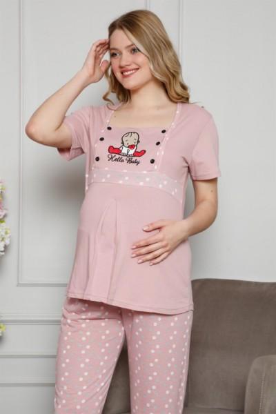Moda Çizgi - Moda Çizgi Kadın %100 Pamuklu Hamile Pijama Takımı 4508
