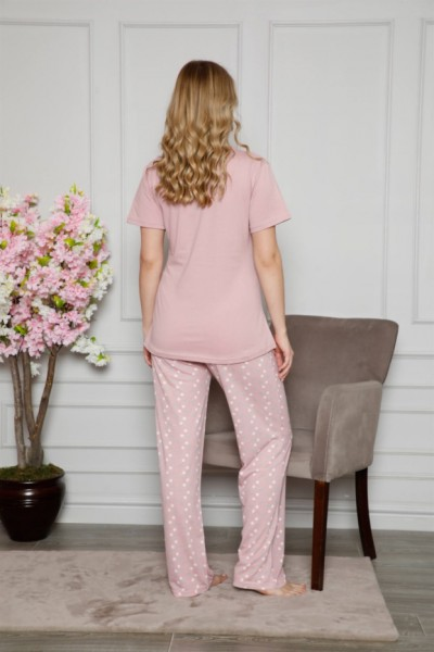 Moda Çizgi Kadın %100 Pamuklu Hamile Pijama Takımı 4508 - Thumbnail