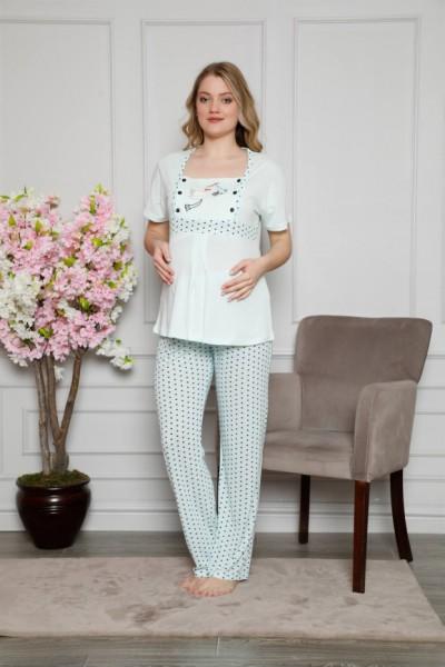 Moda Çizgi Kadın %100 Pamuklu Hamile Pijama Takımı 4509 - Thumbnail