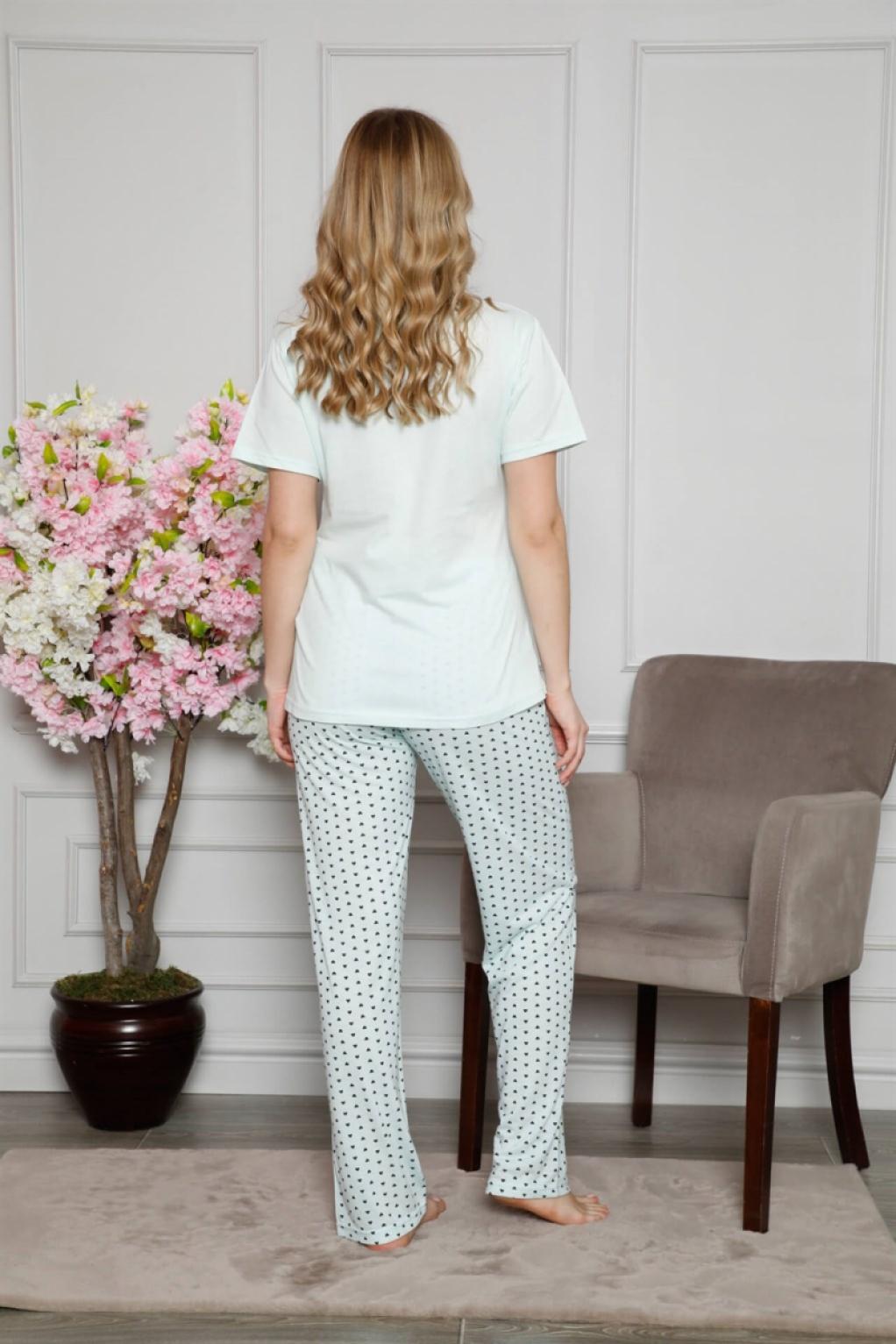 Moda Çizgi Kadın %100 Pamuklu Hamile Pijama Takımı 4509