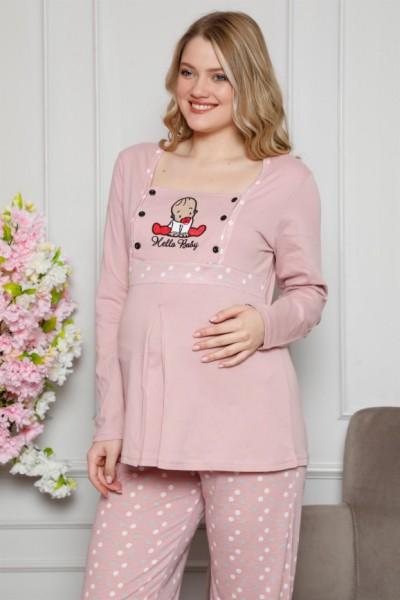 Moda Çizgi - Moda Çizgi Kadın %100 Pamuklu Hamile Pijama Takımı 4515