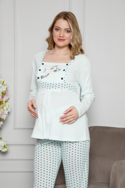 Moda Çizgi - Moda Çizgi Kadın %100 Pamuklu Hamile Pijama Takımı 4516