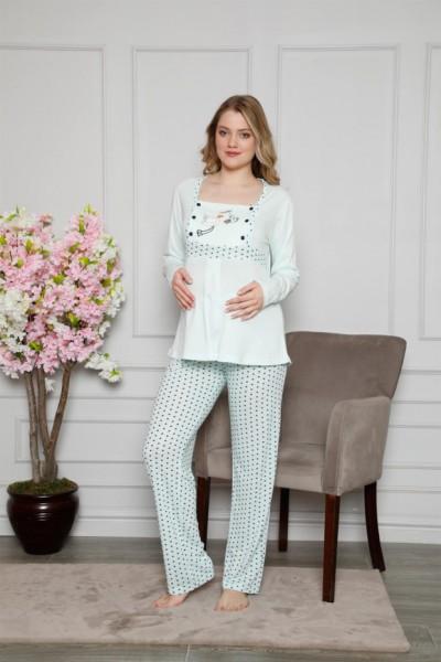 Moda Çizgi Kadın %100 Pamuklu Hamile Pijama Takımı 4516 - Thumbnail