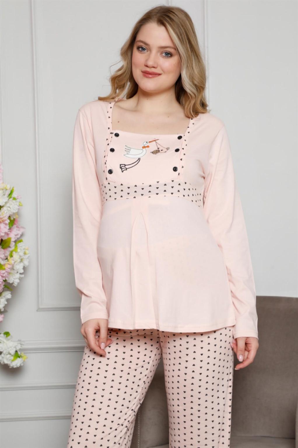 Moda Çizgi Kadın %100 Pamuklu Hamile Pijama Takımı 4517