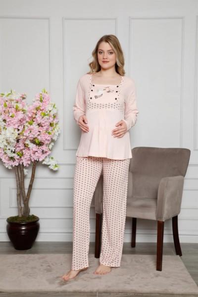 Moda Çizgi Kadın %100 Pamuklu Hamile Pijama Takımı 4517 - Thumbnail