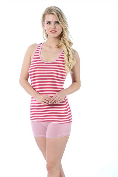 Moda Çizgi - Moda Çizgi Kadın Kalın Askılı Mercan Beyaz Renkli Şortlu Pijama Takımı 413