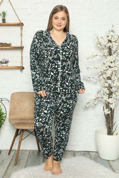 Moda Çizgi - Moda Çizgi Kadın Pamuklu Cepli Uzun Kol Büyük Beden Pijama Takım 202046
