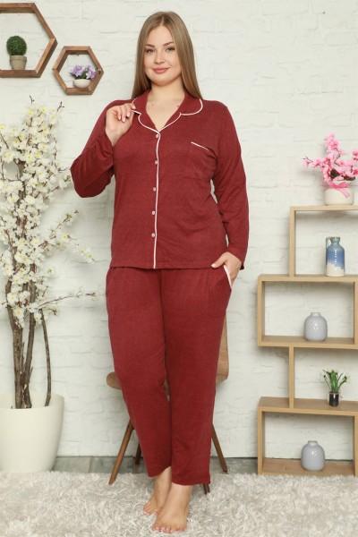 Moda Çizgi - Moda Çizgi Kadın Pamuklu Cepli Uzun Kol Büyük Beden Pijama Takım 202051
