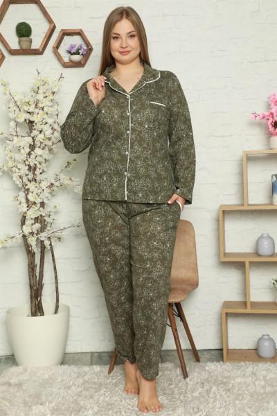 Moda Çizgi - Moda Çizgi Kadın Pamuklu Cepli Uzun Kol Büyük Beden Pijama Takım 202055