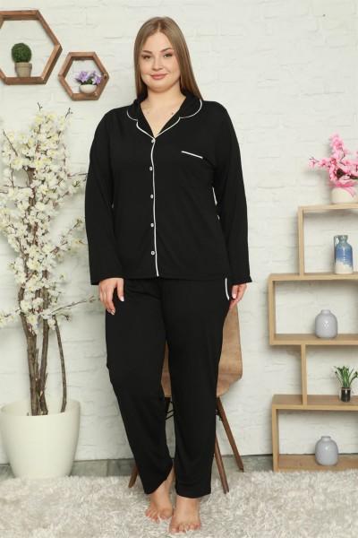 Moda Çizgi - Moda Çizgi Kadın Pamuklu Cepli Uzun Kol Büyük Beden Pijama Takım 202057
