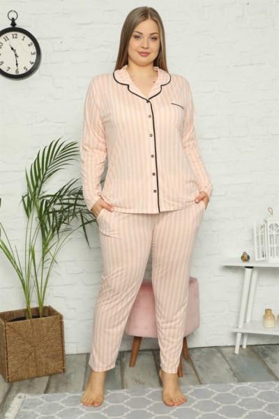 Moda Çizgi - Moda Çizgi Kadın Pamuklu Cepli Uzun Kol Büyük Beden Pijama Takım 202098