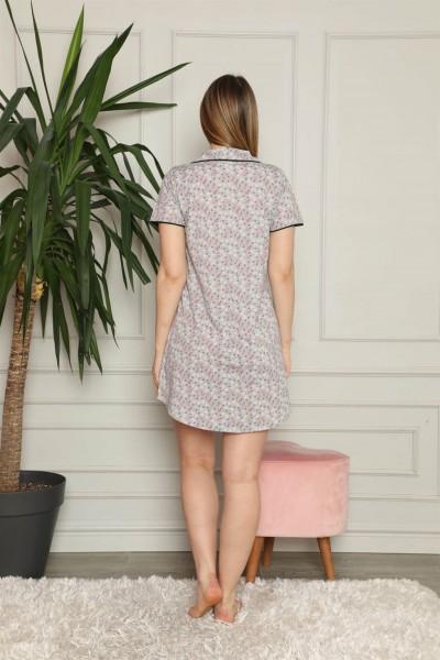Moda Çizgi Kadın Pamuklu Önden Düğmeli Gecelik 1003 - Thumbnail